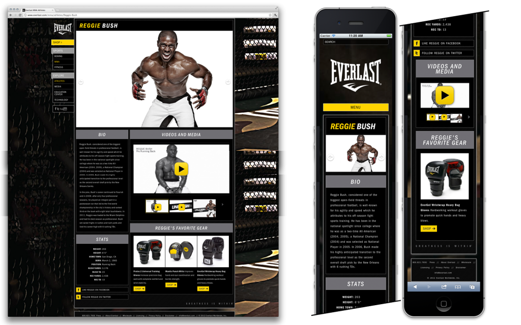 Everlast.com Athletes page on desktop and mobile
