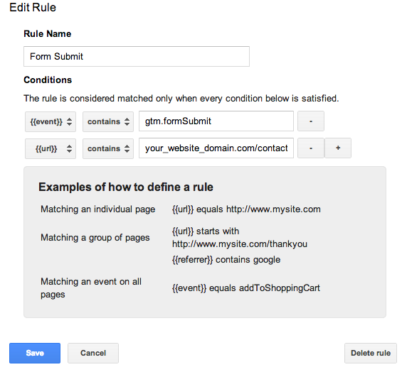 Edit Rule in Google Tag Manager