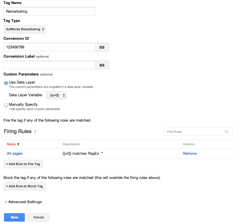 Remarketing tag in google tag manager