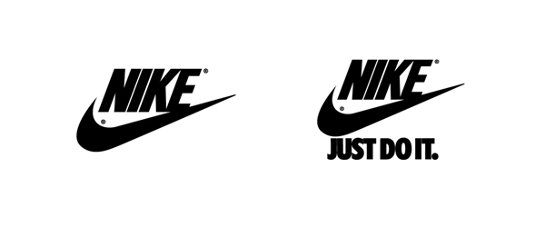 Nike logos with and without tagline