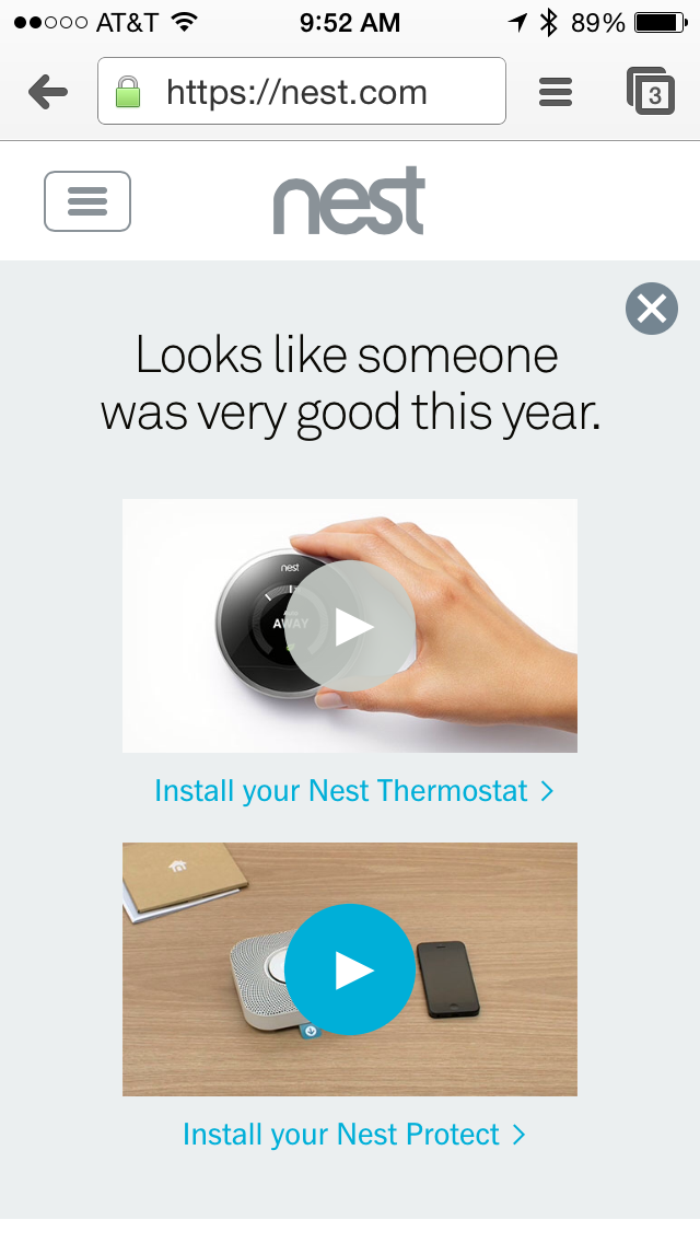 Nest's Homepage on Christmas Day