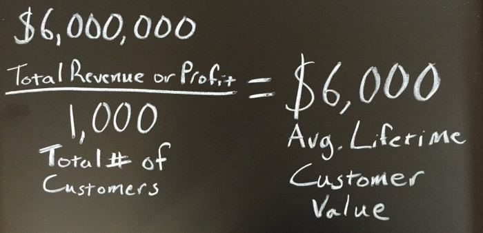 Lifetime Customer Value equals Total Revenue or Profit over Total number of Customers
