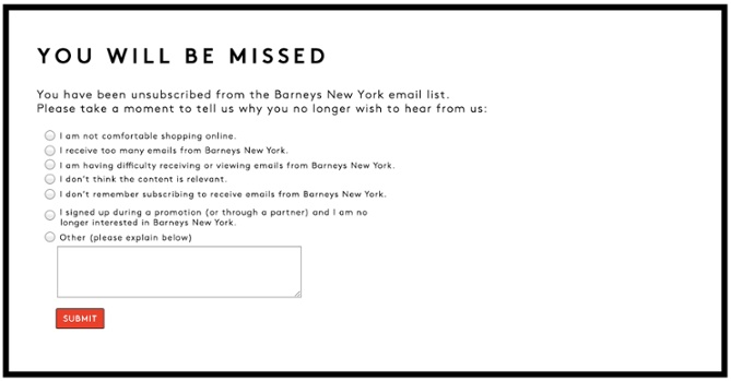 Barneys New York Unsubscribe Message