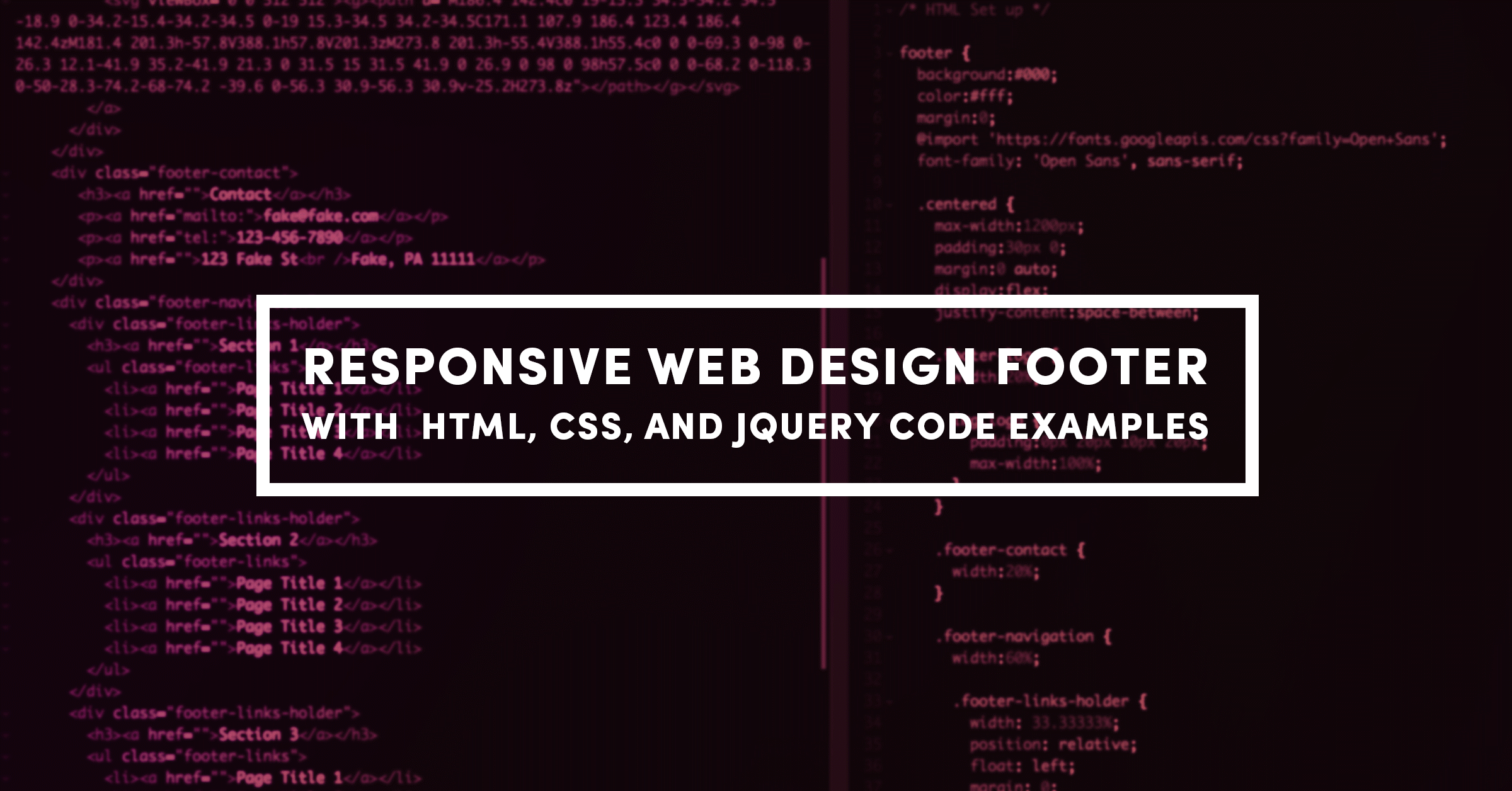 Responsive Web Design Footer with HTML, CSS, and JQuery Code